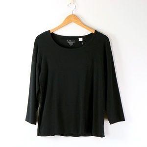 NWT Chicos Camrose 3/4 Sleeve Black Tee Shirt Top